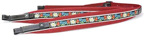 Alpenland Steirische Harmonika Harmonikariemenset Kinder 3-reihig rot 5,5 cm breit