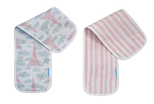 Abracadabra Muslin burpad Boys Girls - Soft Baby Burp Clothes Set of 2 (Eiffel Tower)