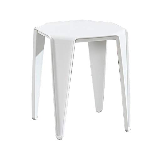 Dall Stühle Möbel Kunststoff Stapelhocker Küche Frühstück Essensstuhl Süssigkeiten Farben (Farbe : Weiß, größe : 45 * 38cm)