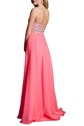 Ivydressing Damen Strass A-Linie Lang Chiffon Herzform Ballkleid Abendkleider Rosa