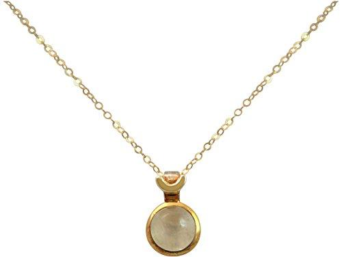 Gemshine - Damen - Halskette - 925 Silber - Vergoldet - Mondstein - Weiß - 10mm