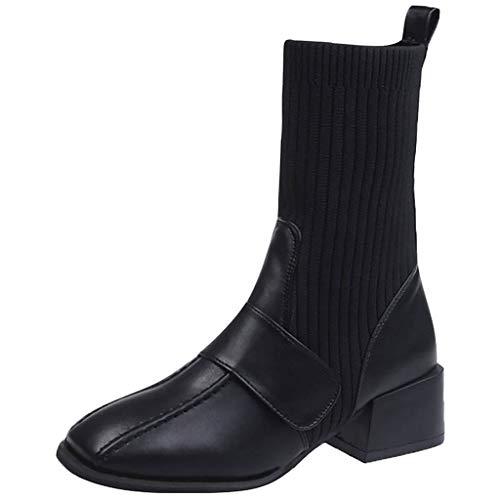 Wildleder Spitze Cord (Dragon 868 Damen Stiefeletten Chelsea Boots mit Blockabsatz Drucken Elastizität Wolle Patchwork Socken Stiefel)