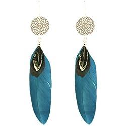 Gemshine - Pendientes - Atrapasueños - Chapado oro rosa 18k - Boho - Azul - Plumas - 9 cm