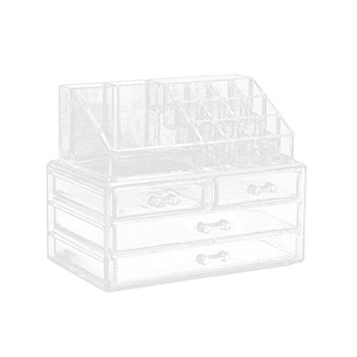 Frcolor Organiseur de maquillage Portable Maquillage tiroirs de stockage de bijoux boîte de présentation pour femmes filles (Transparent)