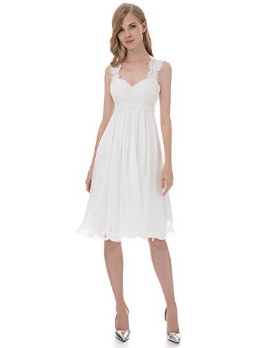 Erosebridal Spitze Chiffon Strand Hochzeitskleid Formal Abendkleider Kurze Elfenbein DE38