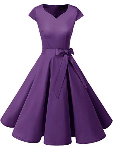 Dresstells Damen Vintage 50er Cap Sleeves Rockabilly Swing Kleider Retro Hepburn Stil Cocktailkleid Purple S
