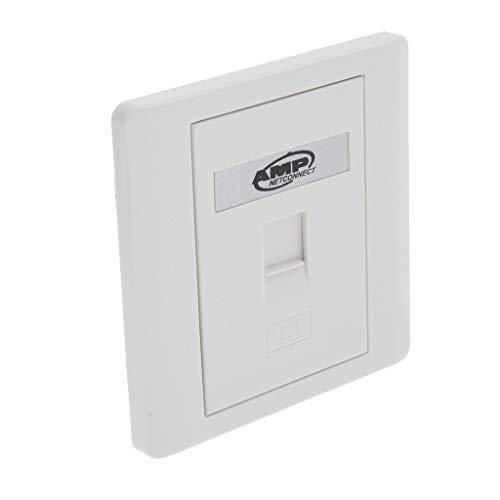 B Blesiya 1 Port Wohnung Einzel 1 Gang Ethernet RJ45 Rj11 Netzwerk Wandplatte mit Jack Keystones - (Weiß)