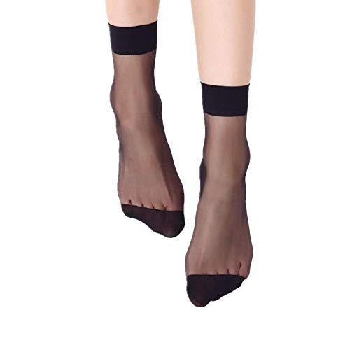 Yibaision Damen Feinstrumpfsöckchen Nylon Elastische Strümpfe Socken Transparente Kristall Kurze Socken mit Muster Schwarz Hautfarben (,X-Schwarz)