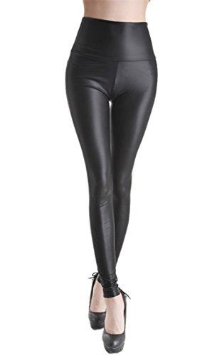 Sexy stretch PU Leder Leggings Leggins PU Leder-Optik, hüfthoch schlank Hose Kunstleder Treggins (M (107cm/ 60cm/ 81cm), Matt Schwarz) -