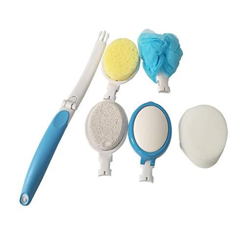 Wokee 5 Pcs Set Premium Badebürste im Set,Duschbürste mit langem Stiel,Körperbürste mit Naturborsten gegen Cellulite und trockene Haut