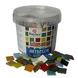 Rayher Hobby 1453149 Glas-Mosaiksteine, Artdecor, bunte Mischung, Form quadratisch 2 x 2 cm, Eimer 1 kg (ca. 325 St.) Glasmosaik, Glassteine