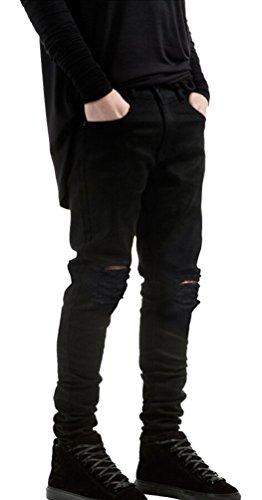 Ghope Slim Fit Herren Jungen Destroyed Look Jeans Hose Denim Biker Straight Leg Schwarz