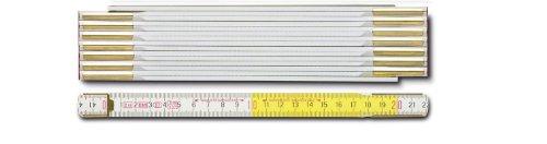 BMI 984914300WG Holzgliedermaßstab 9143 aus Buchenholz, 3 m, Gliederstärke 3.3 mm, weiß/gelb