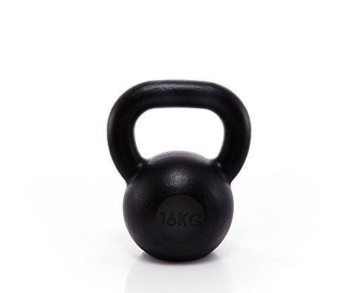 Suprfit Econ Kettlebell 4 - 28kg | Kugelhantel | Schwunghantel | Crossfit Gewichtheben Bodybuilding | Gusseisen | Schwarz lackiert | 16 kg