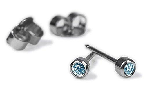 Minott Erstohrstecker Ohrschmuck Stecker Ø 4mm aus Edelstahl mit Steinimitation Blau 100 % Steril - Sterile Ohrringe