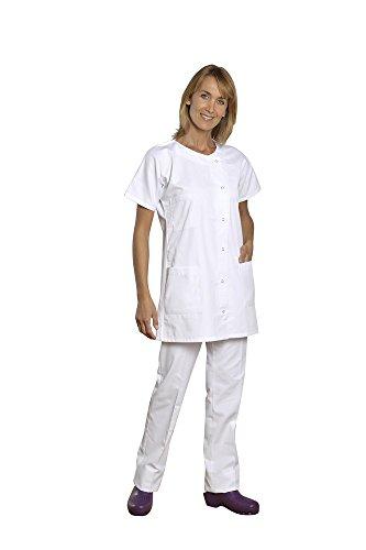 Holtex wmed07_ 91Mediterraner Tunika Damen Kleid Twill, Rundhalsausschnitt, kurze Ärmel, Größe 1, weiß