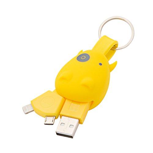Munkees llavero USB Cable de carga para Micro USB & Lightning para smartphones, amarillo
