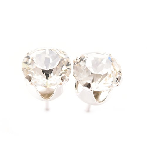pewterhooter 925 Sterling Silver stud earrings expertly made with sparkling diamond white crystal from SWAROVSKI® for Women