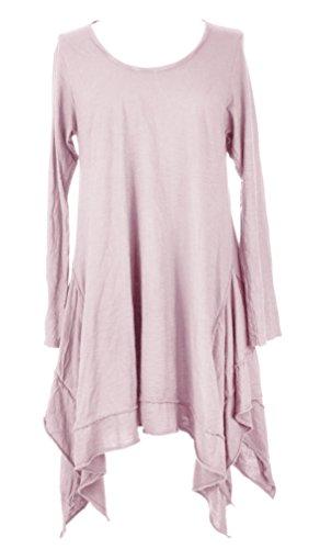 Damen Frauen italienische Lagenlook schrulligen Long Sleeve Plain asymmetrische Saum Hanky Tunika Kleid eine Größe UK 12-18 Light Rosa