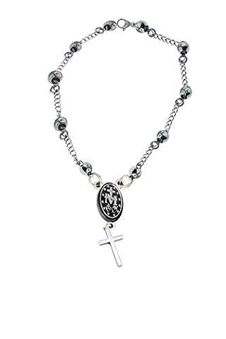 catholique–Chapelet prière Bracelet en acier–Médaille miraculeuse–Longueur (19,1cm) (19cm)