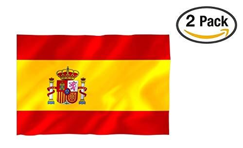Cramesoj Bandera España Grande, 2 Unidades, Resistente a la Intemperie, 90 x 150 cm