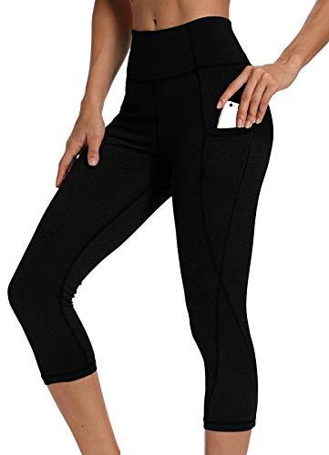 INSTINNCT Damen Doppeltaschen Sport Leggings 3/4 Yogahose Sporthose Laufhose Training Tights mit Handytasche Capris(Upgrade) - Schwarz S (Damen-yoga-hosen Kurz)