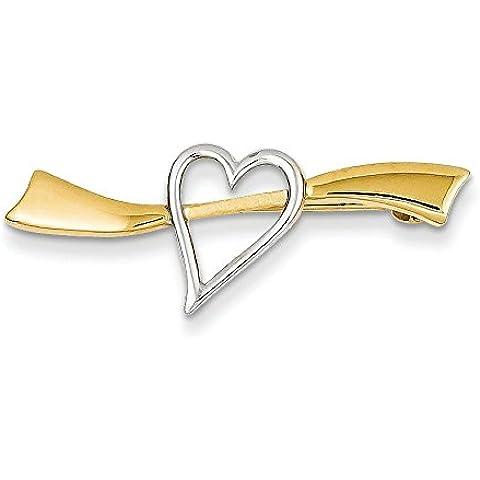 14 K Two-Tone satinato, a forma di cuore, motivo: (Tone Cuore Spilla)