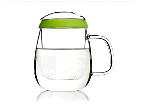UNIHOM - Valentine 600ml 23oz Glass Infuser All-in-one Tea Cup with Silicone Ring - Handmade, Clear