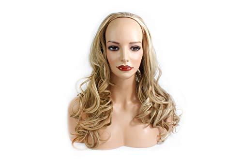 "22"" Ladies 3/4 WIG Half Fall WAVY Blonde Mix #18/613"