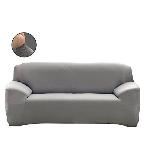 FORCHEER Sofabezug elastische Sofahusse Stretch Sofaüberwurf mit 4 verschienden Größe Bezug Couchsessel für (2-Sitzer, 145-185cm, Grau)