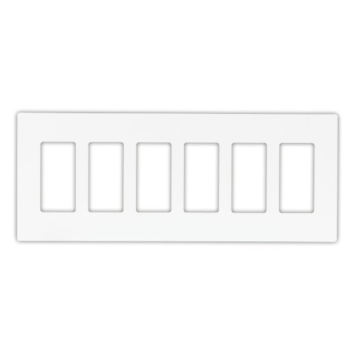 Gang White Decorator (Cooper Wiring Devices PJS266W Decorator Screwless Wallplate, 6-Gang, White by Cooper Wiring Devices)