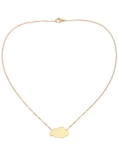Leslii Kurze Damen-Kette 4 Teen Wolke Wolken-Anhänger Collier Halskette Modeschmuck Kinder-Schmuck Länge 38cm in Gold