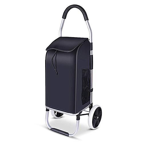 AKINO Einkaufstrolley klappbar in schwarz mit Seitentaschen - Einkaufswagen mit wasserabweisender & Abnehmbarer Tasche