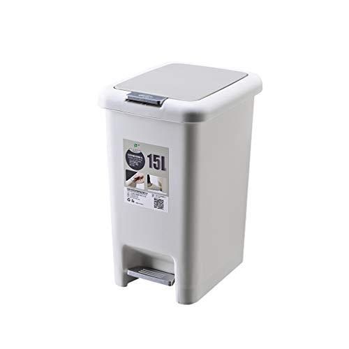 W-SHYP Füße Mülleimer Pedal Hände Dual-Use Küche Wohnzimmer Toilette Rechteckige Mode Papierkorb 15L (Farbe : Gray) - Mülltonne Dual