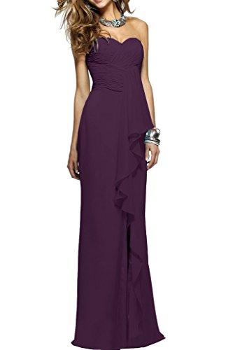 Ivydressing Damen Einfach Herz-Ausschnitt Rueckenfrei Lang Chiffon Festkleid Promkleid Ballkleid Abendkleid Traube