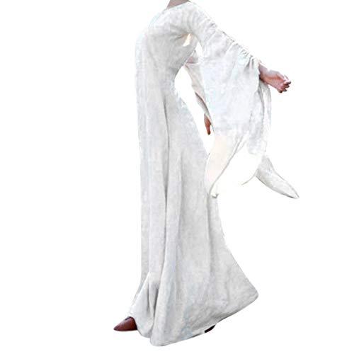 Pixie Blume Kostüm Sexy - Mittelalterliches Kleid Damen Partykleid Freizeitkleid Trompetenärmel Langarm Renaissance Mittelalter Abendkleid Bodenlangen Cocktailkleid Maxikleid Halloween Weihnachten Karneval Kostüm Piebo