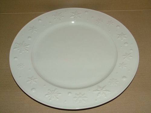 TABLE&COOK Assiette plate 28 cm 'Flocon blanc' (lot de 4) - BP 022402-0396