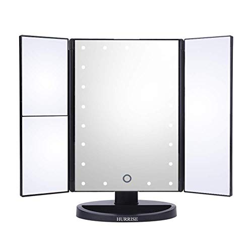 HURRISE 3 Fach LED Beleuchtung Kosmetikspiegel Beleuchteter Faltbar Rasierspiegel & Schminkspiegel mit 22 Dimmbar LED-Leuchtmittel 2X & 3X Vergrößerung Spiegel für Make-up und Rasur