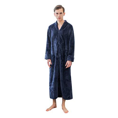 ODRD Herren Schlafanzüge Verlängerte Plüsch Schal Bademantel Home Kleidung Langärmelige Robe Mantel Pajamas (Crew-angora-wolle-pullover)