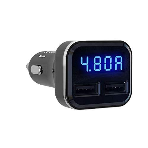 Bigherdez 4.8A Intelligent Voltage Current Detection Kfz-Ladeadapter Dual-USB-Autoladegerät Anzeige Schnellladung für Handy Low Voltage Detection