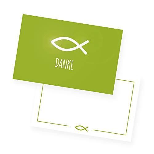 itenga 24x Dankeskarten ,Kärtchen Kommunion Taufe Konfirmation Fisch Danksagung 8,5x5c5cm (grün)