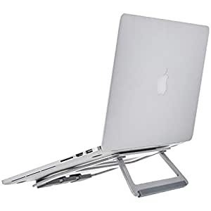 """AmazonBasics Aluminum Foldable Laptop Stand for Laptops up to 15"""", Silver"""