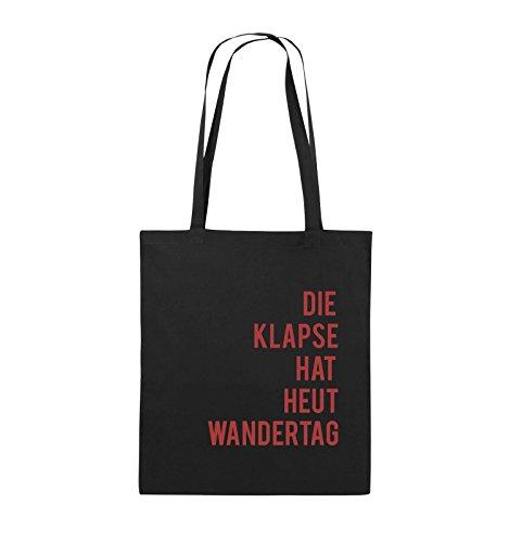 Comedy Bags - DIE KLAPSE HAT HEUT WANDERTAG - Jutebeutel - lange Henkel - 38x42cm - Farbe: Schwarz / Weiss Schwarz / Rot
