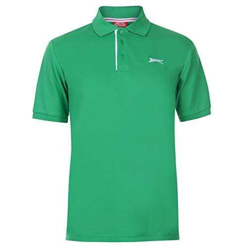 Slazenger Herren Poloshirt Polohemd Kurzarm Kragen-Ansatz Sommer Freizeit Top Bright Grün L - Button-down Polo Shirt Gestreift