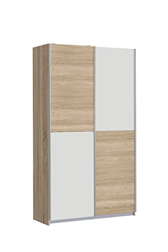 NEWFACE Ohio Mehrzweckschrank, Holz, Sonoma Eiche/Weiß, 120 x 42 x 190.5 cm