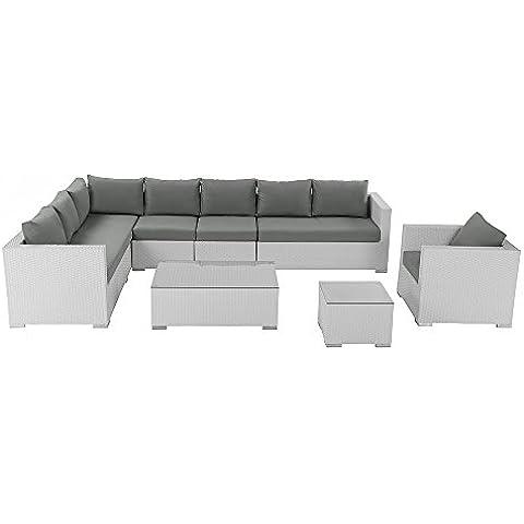 Conjunto de jardín blanco - 23 piezas - set en ratán - XXL