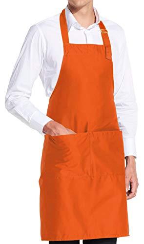 vanVerden - Premium Schürze - Orange Blanko - Orangene Latz-Schürze (Retro-kittel-schürze)