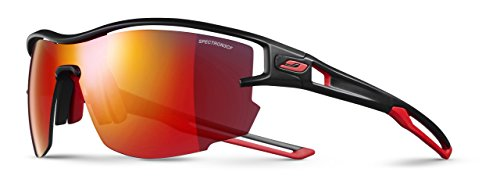 Julbo Sunglasses J 483 Aero 1114 Plastic Matt Black - Red Grey Blue with Red Mirror Effect