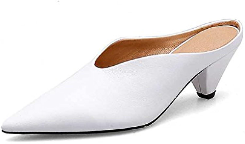 548167f497 JIANXIN Sandali Estivi A Punta V Rastremati Con Mezza Mezza Mezza Pantofola  Bianca Da Donna In