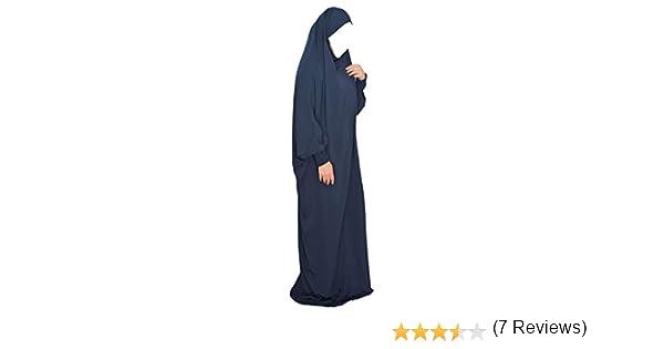 Yaqeen Overhead Jilbab Un Pezzo con Polsini Elastici e Fascia
